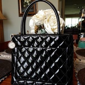 CHANEL Bags - SOLD@! Auth. Chanel Black CC Patent Medallion Ha